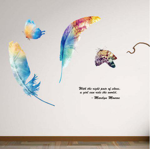 Color Feather Butterfly Removable PVC Wall Sticker - multicolor 20 X 28 INCH