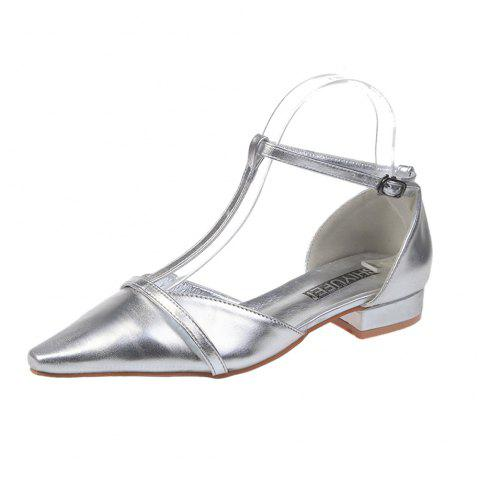 297529d9b4f7 2019 Flat Bottom Buckle Female Sandals In SILVER EU 39