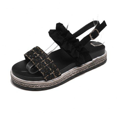 93264821397b 2019 Flat Bottom Buckle Fashion Women Sandals In BLACK EU 36 ...