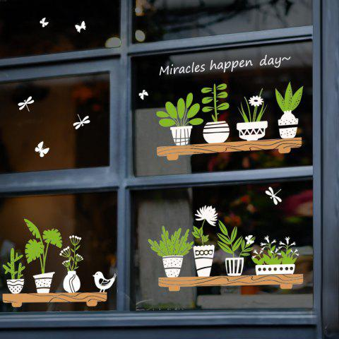 Fresh Plants Potted Removable PVC Wall Sticker - multicolor 60X45CM