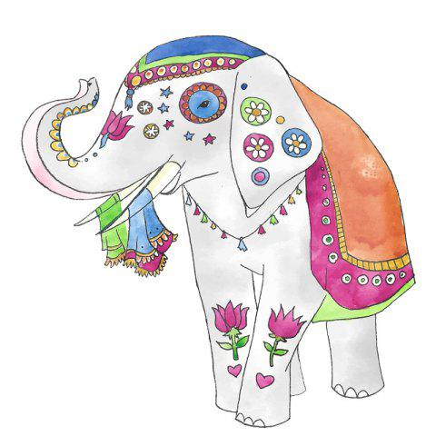 Cute Elephant Removable PVC Wall Sticker - multicolor 29X29CM