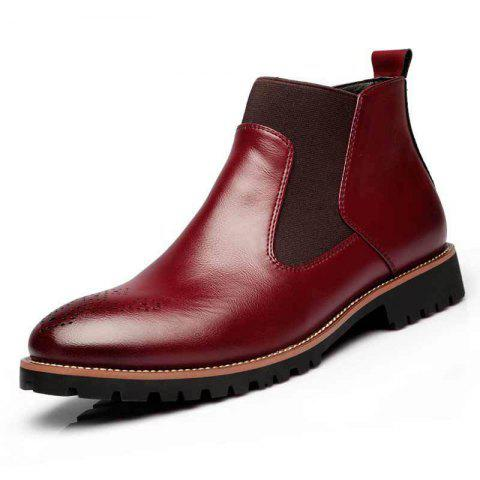 Spring Fashion High-Top Large Size Men Boots - RED WINE EU 46