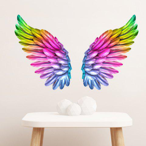 Coloured Wings Removable PVC Wall Sticker - multicolor 58X38CM