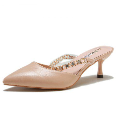 Fashion Sharp-Head Rhinestone Style High Heel Slippers for Girl - PINK EU 38