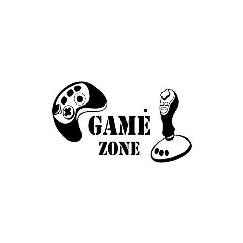 Personality Game Handle Icon Sticker Game Room Wall Decoration Wall Sticker - BLACK 23*42CM