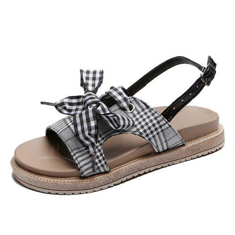 0e0207236584 2019 Flat Bottom Latticed Female Sandals In BLACK EU 39