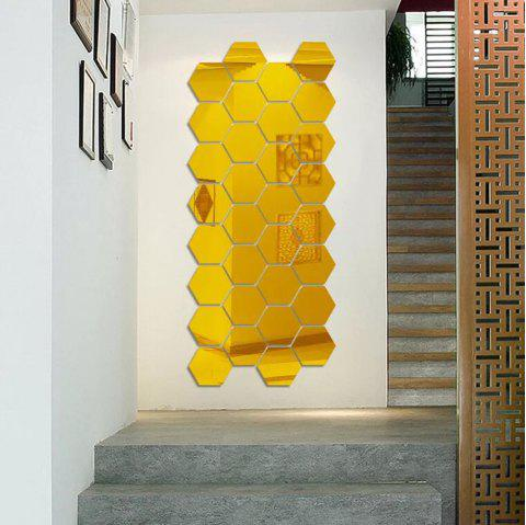 Hexagonal Mirror 3D Wall Sticker Home Furnishing Bedroom Decoration 12pcs - GOLD