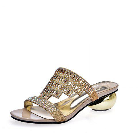Summer Personality Heel Water Drills Contracted and Cool Slipper - GOLD EU 42