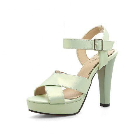 78b1e6821a9 Platform Round Toe Pure Color Buckle Strap Chunky Heels Elegant Lady Sandals  - GREEN EU 38