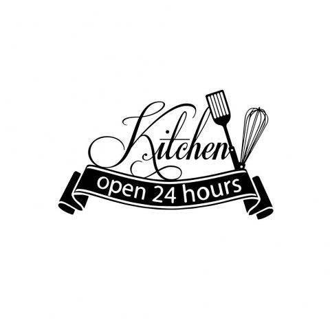 Creative Personality Restaurant Glass Window 24-HOUR Business Tips Stickers - BLACK 34*56CM