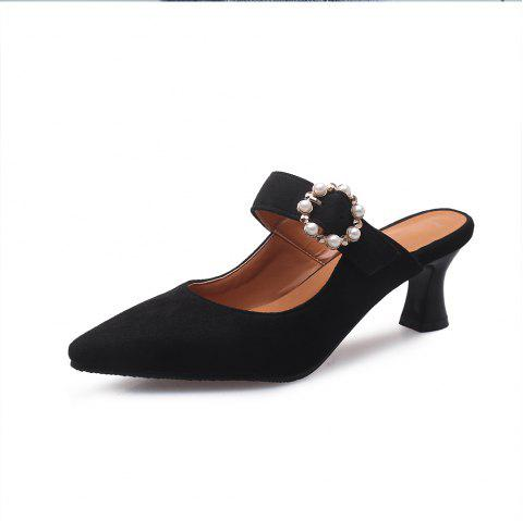 62a91409bf41 Pointed Toe Napped Leather Buckle Strap Pearl Elegant Chunky lady Slippers  - BLACK EU 34