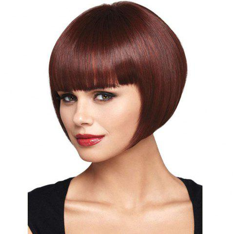 Short Straight Hair BOBO Head Brown Qi Liuhai Female Chemical Fiber Wig - multicolor REGULAR