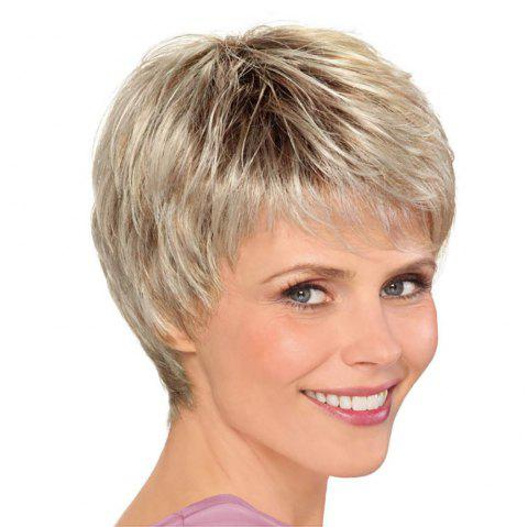 Fashion Woman Golden Gradient Short Hair High Temperature Synthetic Wig - CHAMPAGNE GOLD 10INCH