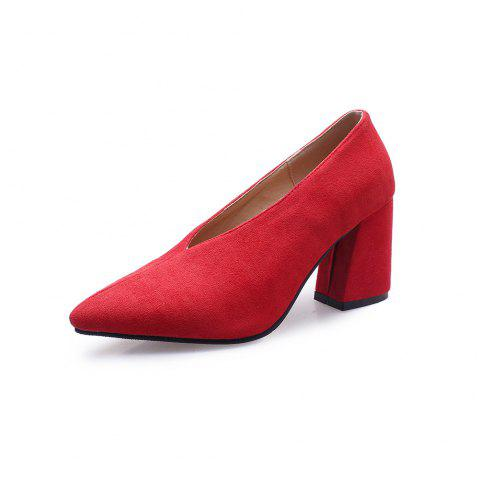 New Fashion Pointed Toe Pure Color Napped Leather Elegant Thick Heels Lady Pumps - RED EU 38