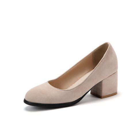 New Fashion Round Toe Dull Polish Pure Color Commuting Chunky lady Pumps - APRICOT EU 38