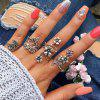 Antique Silver Color With Flower Rings Set 4pcs - SILVER ONE SIZE