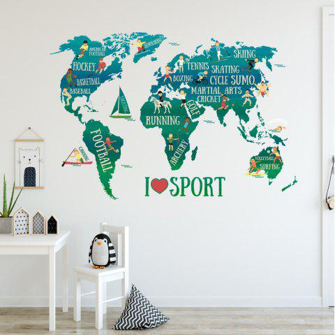 Sports World Map Removable PVC Wall Sticker - multicolor 20 X 28 INCH