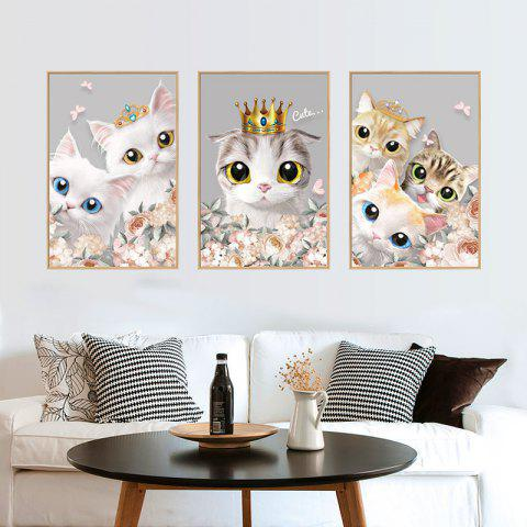 Photo Frame Cute Cat Removable PVC Wall Sticker - multicolor 24 X 36 INCH
