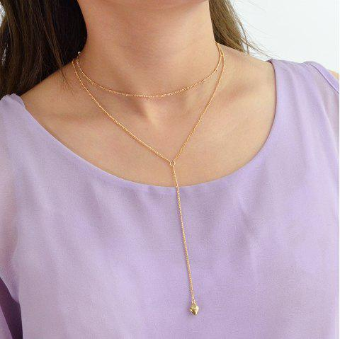 Gold Silver Color Long Chain with Heart Drop Chain Necklace - GOLD