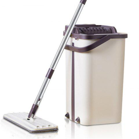 180 Spin Mop Flat Squeeze Mop And Bucket Hand Easy Wringing Floor Cleaning Mop - WARM WHITE