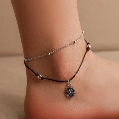 Fashion Double Layers Anklet Beach Chain - multicolor A 1PC