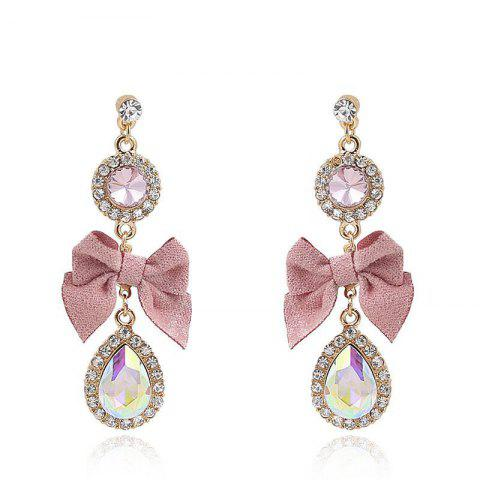 S925 Silver Needle Fashion Pink Small Fresh Bow Drop Earrings - multicolor A 1 PAIR