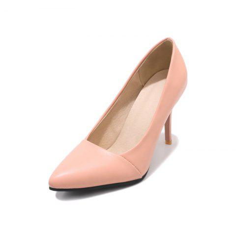New Fashion Pointed Toe Pure Color Elegant Stilettos Heels Lady Pumps - PINK EU 38