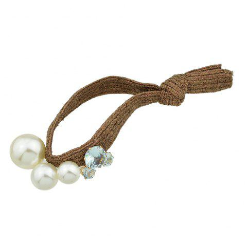 Colorful Elastic Rope with Simulated-pearl Hair Rope - DEEP COFFEE