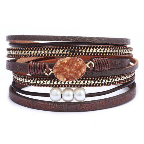 Oval Crushed Stone Fashionable Magnetic Buckle Multi - layer Bracelet - BROWN