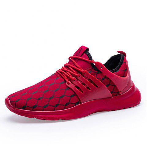 Ultra-light High Quality Mesh Casual Shoes Breathable Fashion Sneakers for Men - RED EU 45