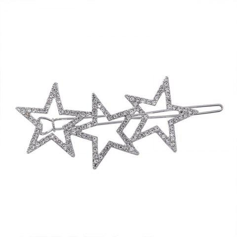 Full Diamond Five-Pointed Star Hairpin Sweet with Hollow Star Clip - SILVER 1PC