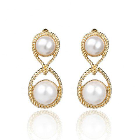 Temperament Literary Art 8 Word Faux Pearl Double Round Ear Clip Female - multicolor 1 PAIR