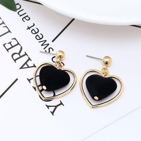 Fashion Temperament Personality  Peach Heart-Shaped Tassel Earrings Female - BLACK 1 PAIR