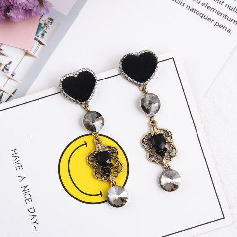 Heart-Studded Tassel Pierced Engraved Temperament Earrings Female - multicolor B 1 PAIR