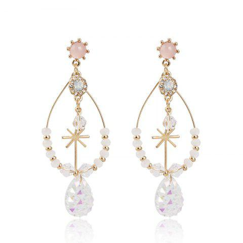 Rice Word Drop Ice Crystal Pendant Silver Needle Personality Fairy Earrings - multicolor 1 PAIR