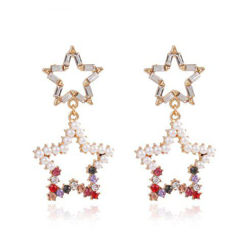 S925 Silver Needle Color Diamond Five-Pointed Star Hollow Star Stud Earrings - multicolor 1 PAIR