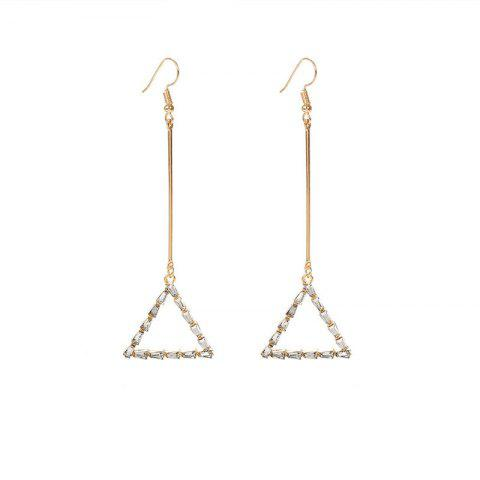 Personalized Diamond Triangle Fringed Pearl Love Earrings Female - multicolor B 1 PAIR