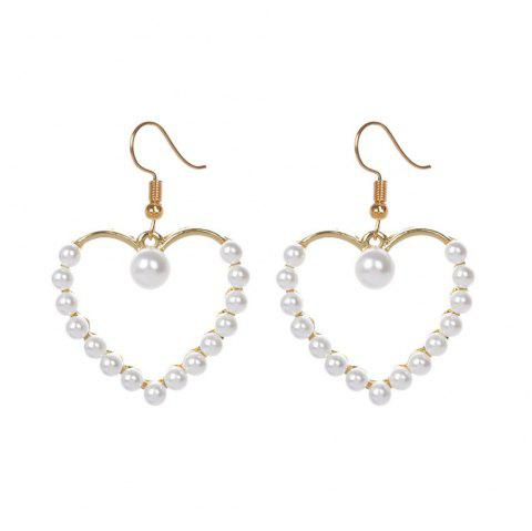Personalized Diamond Triangle Fringed Pearl Love Earrings Female - multicolor A 1 PAIR