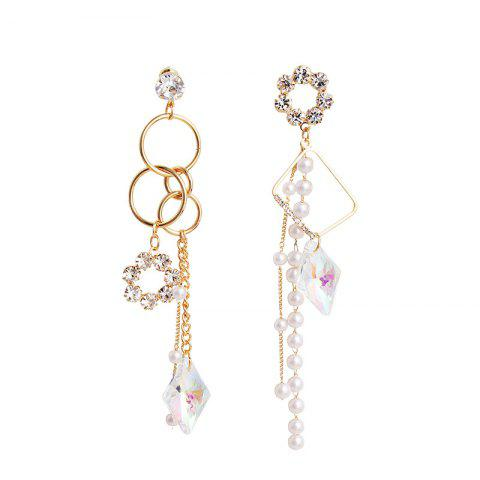 Asymmetric Colorful Crystal Pearl Tassel Circle Personality Earrings Female - multicolor 1 PAIR