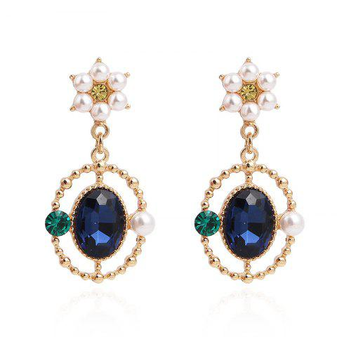 Blue Stone Flower S925 Silver Needle Pearl Disc Earrings - multicolor 1 PAIR