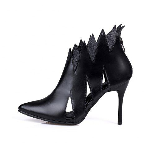 Pointed Toe Splicing Zipper Stilettos Heels Elegant Lady Cool Boots - BLACK EU 43