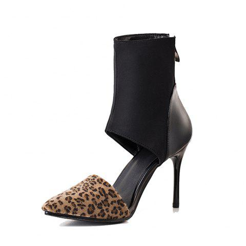 Fashion Pointed Toe Splicing Zipper Stilettos Heels Elegant Lady Cool Boots - LEOPARD EU 40