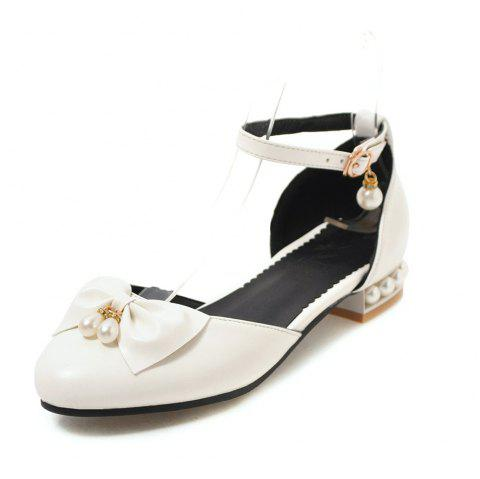 Round Toe Bowknot Pearl Buckle Strap Sweet Low Heel Lady Sandals - WHITE EU 42