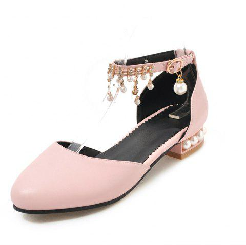 Round Toe Pure Color Crystal Rhinestone Buckle Strap Low Heel Pearl Lady Sandal - PINK EU 39
