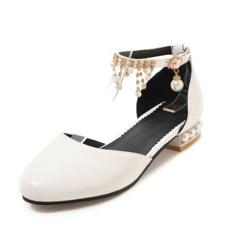 Round Toe Pure Color Crystal Rhinestone Buckle Strap Low Heel Pearl Lady Sandal - WHITE EU 40