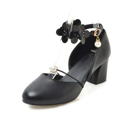 Round Toe Pure Color flower Pearl Buckle Strap Chunky Lady Sandals - BLACK EU 41