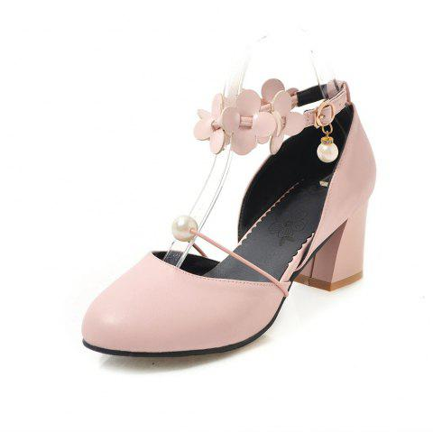 Round Toe Pure Color flower Pearl Buckle Strap Chunky Lady Sandals - PINK EU 38