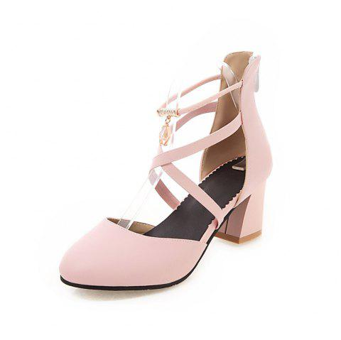 New Fashion Round Toe Pure Color Zipper Chunky Lady Sandals - PINK EU 43