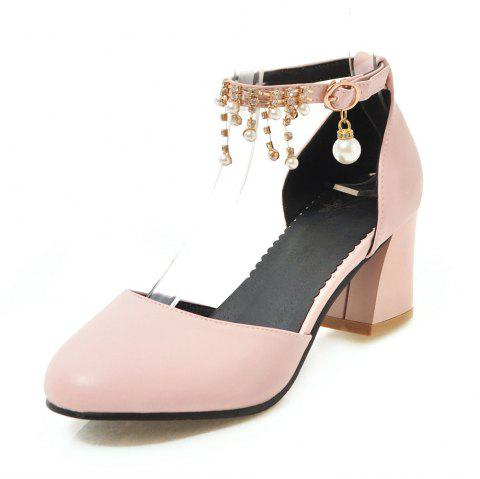 Round Toe Pure Color Crystal Rhinestone Pearl Buckle Strap Chunky Lady Sandals - PINK EU 39