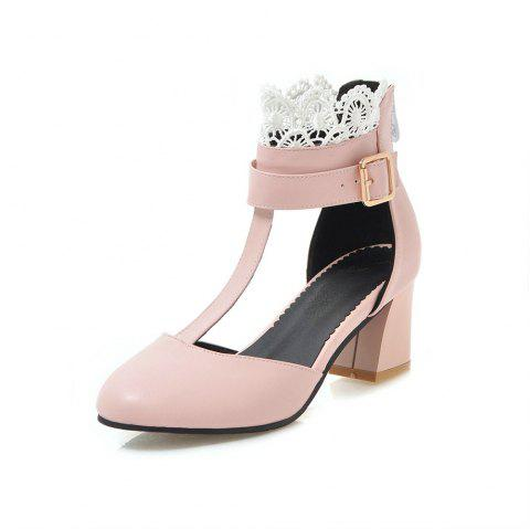 Fashion Round Toe Lace A Belt Buckle Zipper Chunky Lady Sandals - PINK EU 40
